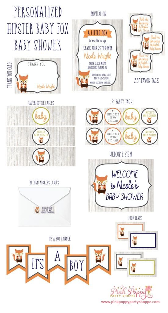 Hipster Fox / Woodland Animal DIY Printable Baby Shower Collection