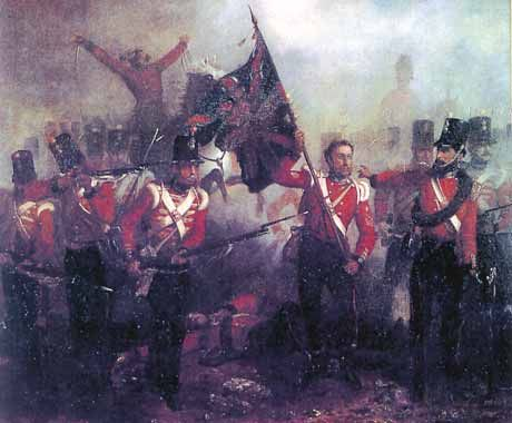 Sergeant Luke O'Connor of the Royal Welch Fusiliers winning the Victoria Cross at the Alma leading the charge of his regiment with the Queen's Colour which he seized from the hands of Lieutenant Harry Anstruther, shot dead as he entered the Great Russian Battery. Sergeant O'Connor subsequently rose to the rank of Field Marshal, the only soldier to serve in every rank in the British Army.