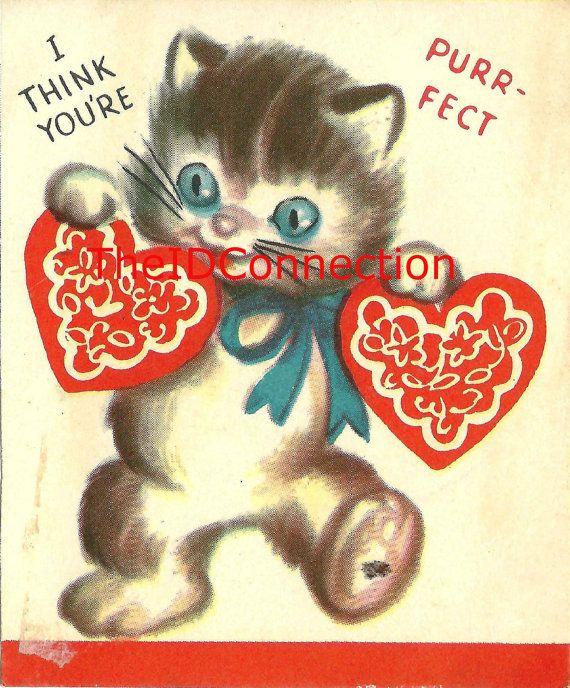 ... $10.00 Vintage Valentine Digital Download  Http://TheIDconnection.etsy.com 1950u0027s Blue Eyed Pussy Cat Valentines Day  Card Http://etsy.me/1lezqhj Via ...