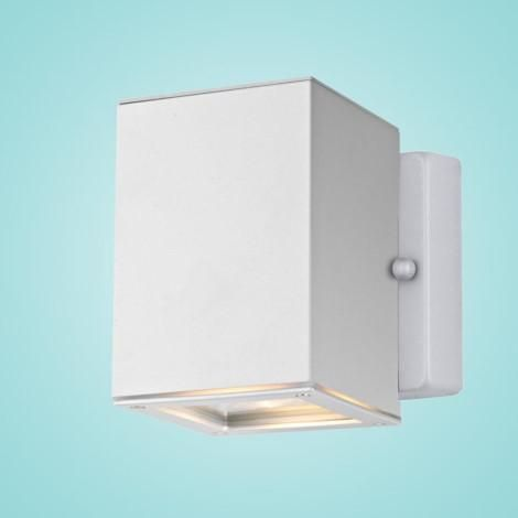 """Outdoor Wall Light w/ Silver Finish & Clear Glass 1 x 50W Dimensions:W:4.29""""; H:5.12""""; D:4.53"""" Type of bulb:GU10 - Included LED Compatible, Dimmer Compat"""