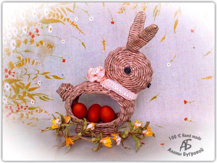 Пасхальный кролик из бумажной лозы