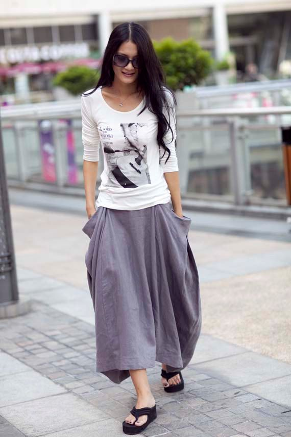 Hot Maxi Skirt Unique Long Skirt in Gray NC144 by Sophiaclothing, $59.99