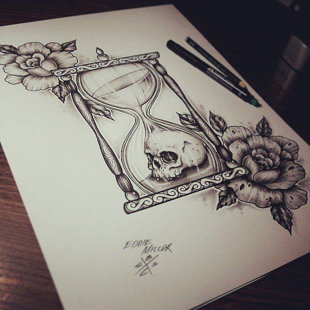 This looks like it'd be a fabulous tattoo. Hourglasses / Roses / Skull by EdwardMiller.deviantart.com on @deviantART