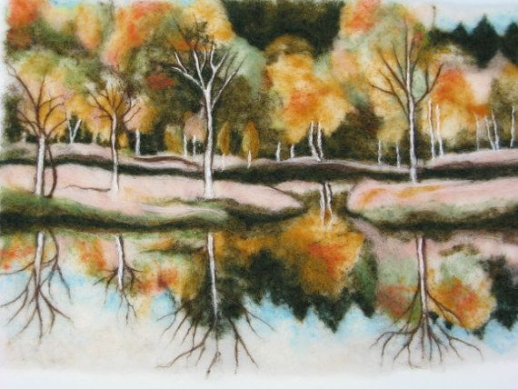 Check out these needle felted pictures. They are beautiful - and such detail!  Needle felted Art Wall Hanging  An Autumn by marinalubomirsky, $250.00