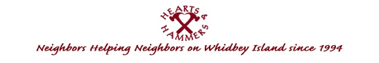 The annual Hearts and Hammers workday is on the first Saturday of May each year.  A typical volunteer effort would include repairs and renovations possible within the scope of a one day work party; projects such as carpentry, plumbing and electrical repairs, painting, weatherization, roof and gutter repair, yard cleanup, and trash removal, the installation of wheelchair ramps, railings and grab bars.