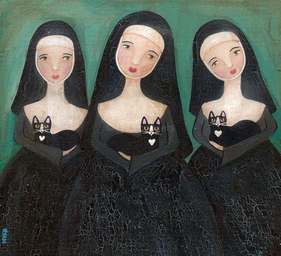 Nuns and Cats Original Folk Art Painting