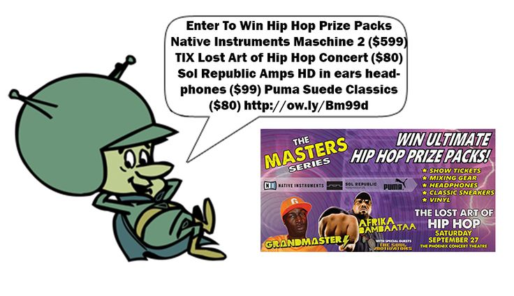 The contestant who INVITES THE MOST FRIENDS THAT ENTER wins A Pair of Tickets to the Lost Art of Hip Hop Concert September 27, Sol Republic Amps HD in ears headphones ($99) + Exclusive CD from Afrika Bambaataa personal collection and a pair of Puma Suede Classics ($80)