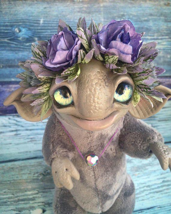 DRAGON TOY Ooak Gray Flower Dragon Fantasy Creature Doll Art