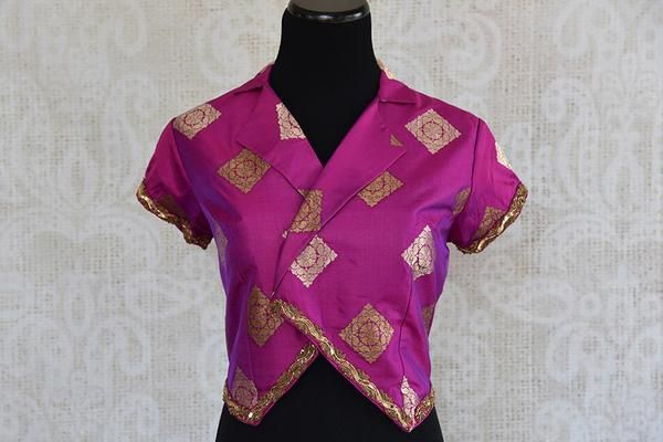 Designer Indian pre stitched banarasi silk buta blouse with embroidery on edges. Classy modern blouse pair with saree and skirt.