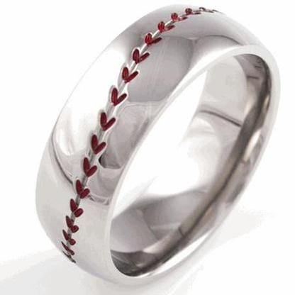 Titanium Baseball Wedding Band