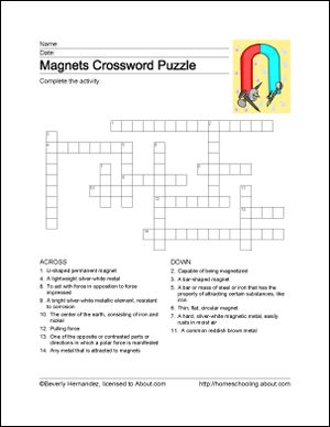 Magnets Printables: Printable Magnets Crossword Puzzle