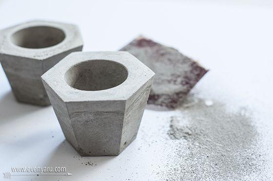 Modern concrete candle holders   DIY   www.evenyaru.com