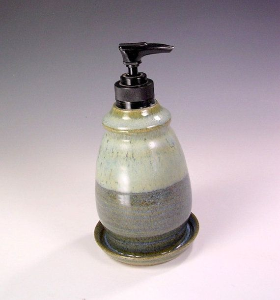 Pottery soap dispenser, ceramic lotion pump, stoneware soap dispenser, dish soap dispenser, soap pump dispenser blue glaze
