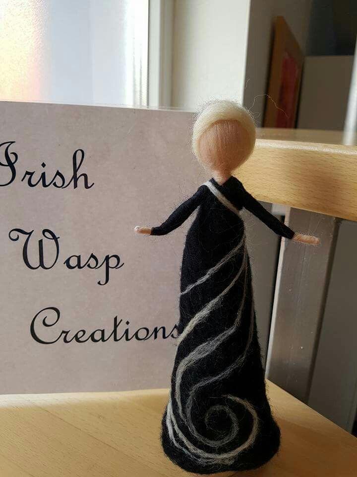 Hand-felted Black and White Doll.  For more visit https://www.facebook.com/Irishwaspcreations/