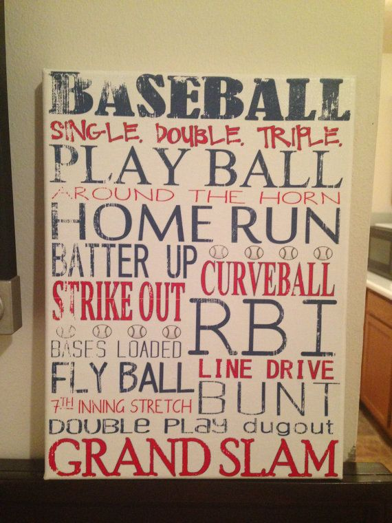 9 x 12 Subway Art BASEBALL Rustic Looking Canvas by CreationsbyCLM, $30.00