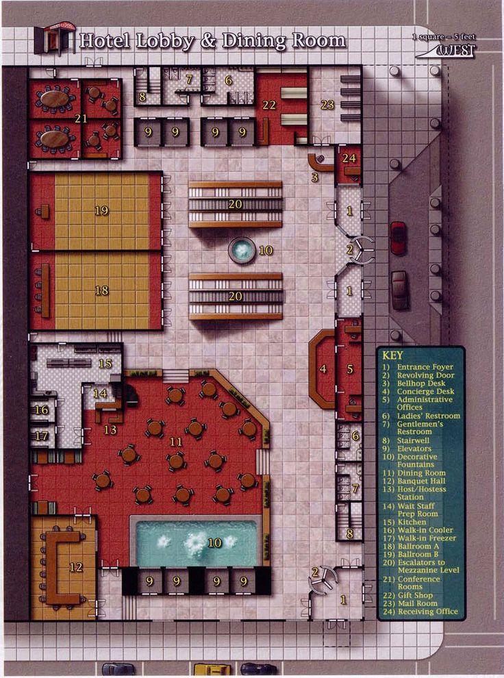 Hotel Lobby Dining Room 983x1323 Shadowrun Floorplan