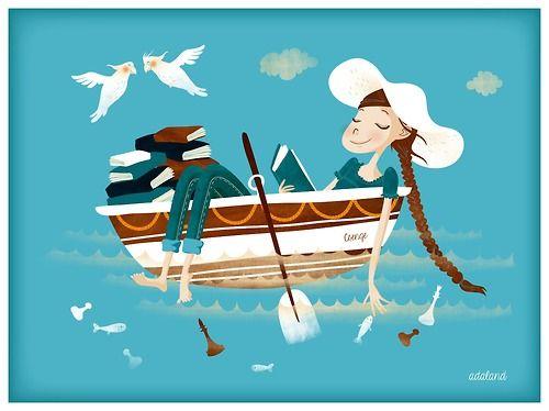 Navigating with reading / Navegando con la lectura (ilustración de Ada Vekonya)