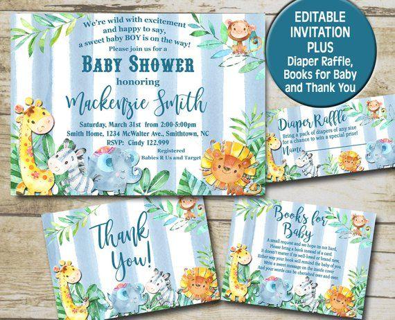 Boy Safari Baby Shower Invitation Kit Editable Invite Template Books For Baby Diape Safari Baby Shower Invitations Baby Shower Invitations Safari Baby Shower