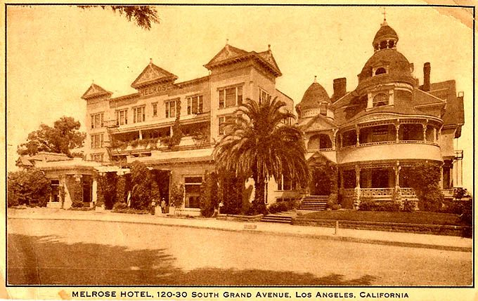 A famous location on Bunker Hill was the Melrose Hotel, on Grand Avenue south of 2nd Street. In the 1920s famous Socialist Party mayoral candidate and labor lawyer Job Harriman and his wife moved into the Melrose Hotel.