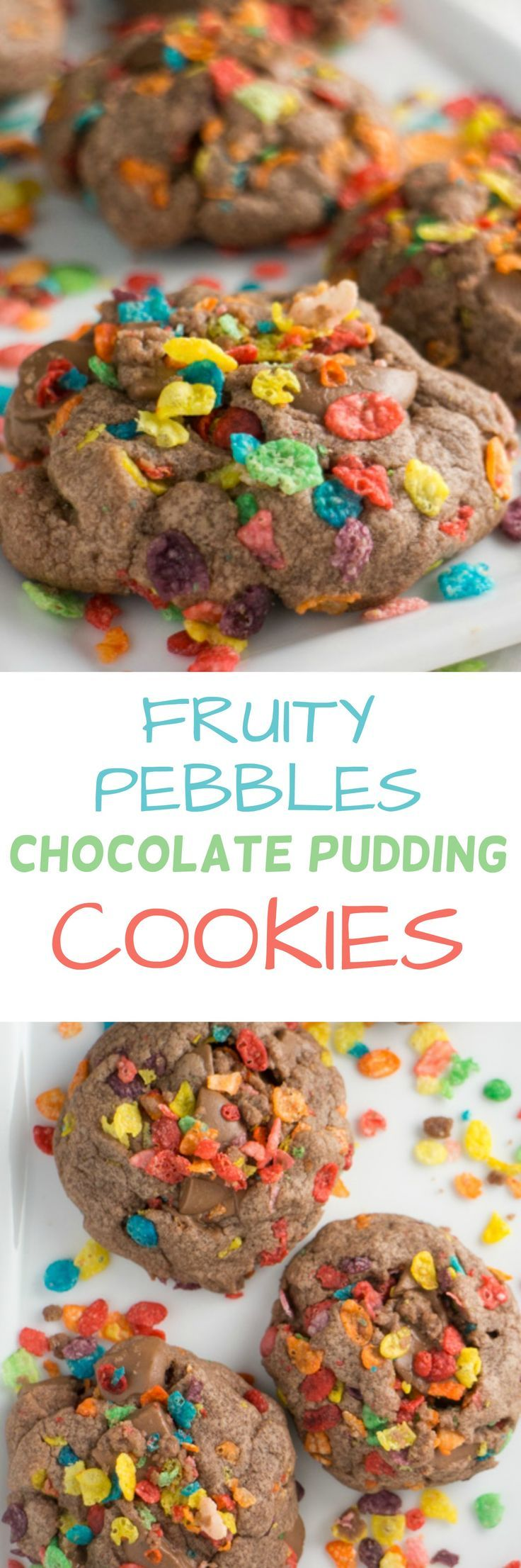 Fruity Pebbles Chocolate Pudding Cookies Recipe. These cookies will melt in your mouth with ooey gooey chocolate bites and delicious Fruity Pebble cereal.