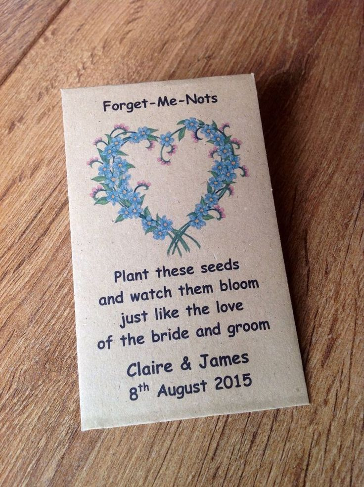 10 Personalised Forget Me Not Flower Seed Envelopes Wedding Favours Rustic