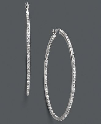 Sterling Silver Earrings, Diamond Accent Large Hoop Earrings - Earrings - Jewelry & Watches - Macy's