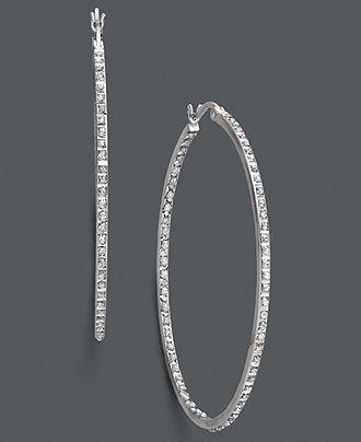 Sterling Silver Earrings, Diamond Accent Large Hoop Earrings - Earrings - Jewelry & Watches - Macy's
