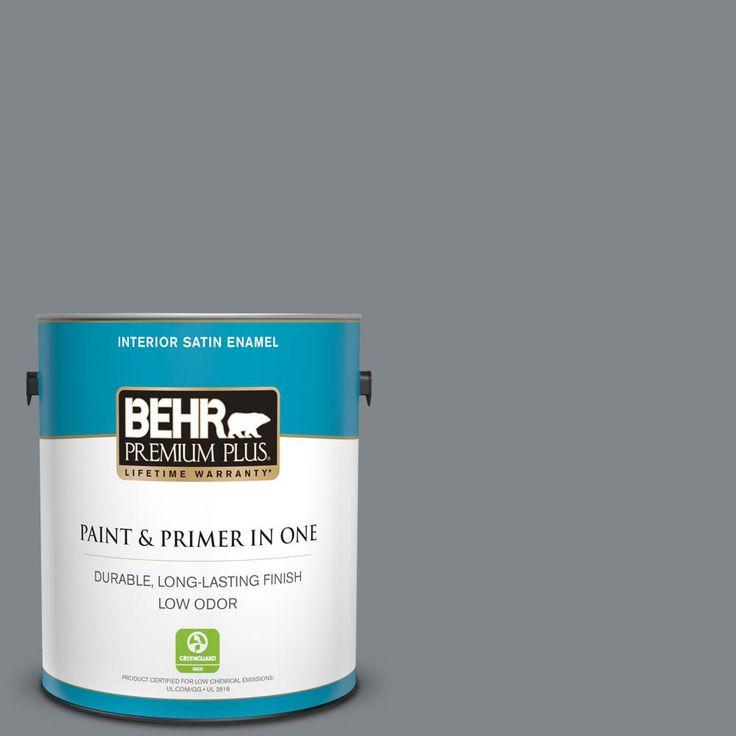 BEHR PREMIUM PLUS 1 gal. #N500-5 Magnetic Gray color Satin ...