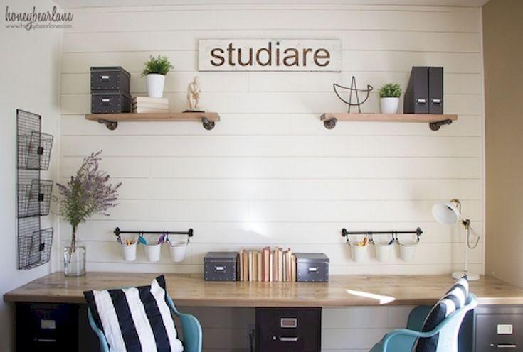 40 einfache DIY Bauernhaus Schreibtisch Dekor Ideen für den kleinen Geldbeutel (33) –  #bauer…