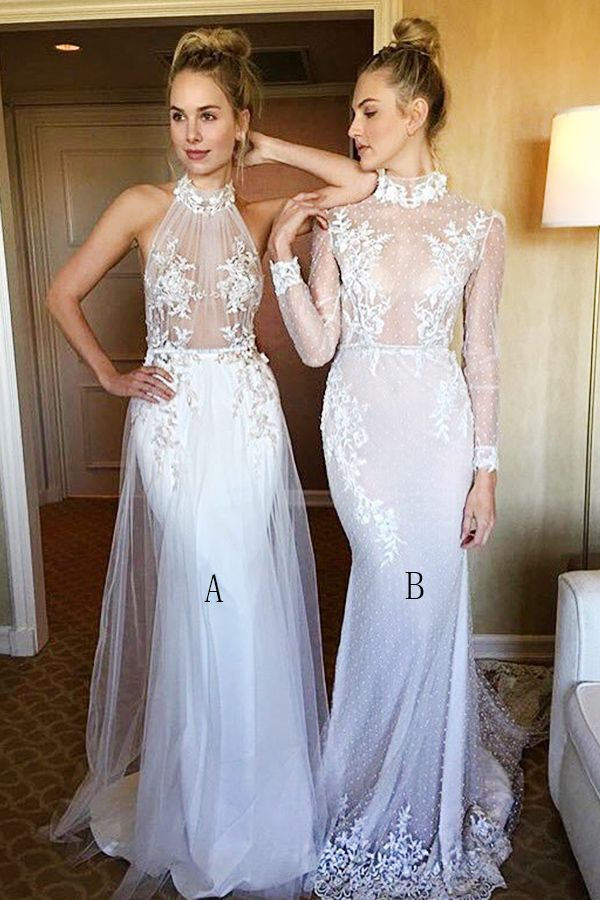 Mermaid High Neck White Lace Sweep Train Long Sleeves Prom Dress with Appliques