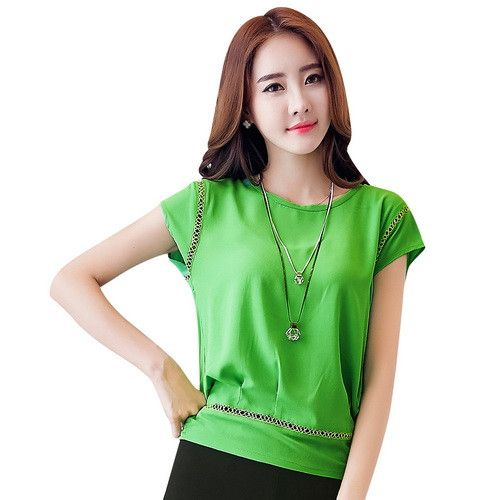 TLZC Hollow Out Fashion Women Casual T-Shirts Large Size M-6XL Batwing Sleeve Lady Chiffon White Tees & Tops Blue / Green