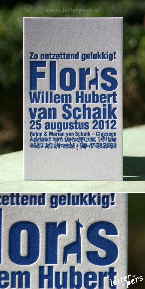 Geboortekaartje Floris « Letterpresskaarten.nl
