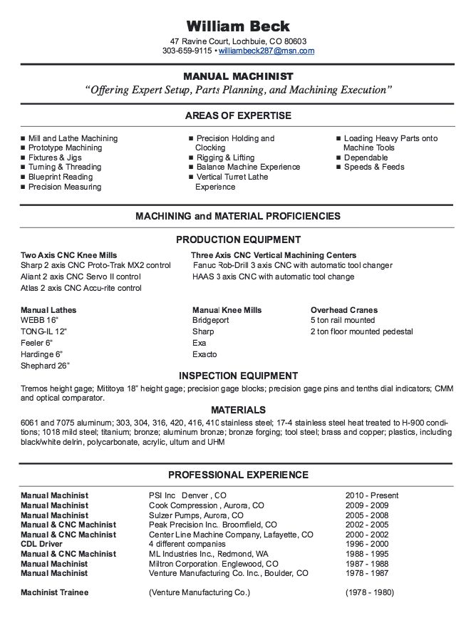 New CNC Machinist Resume Samples -    resumesdesign new - machinist resume example