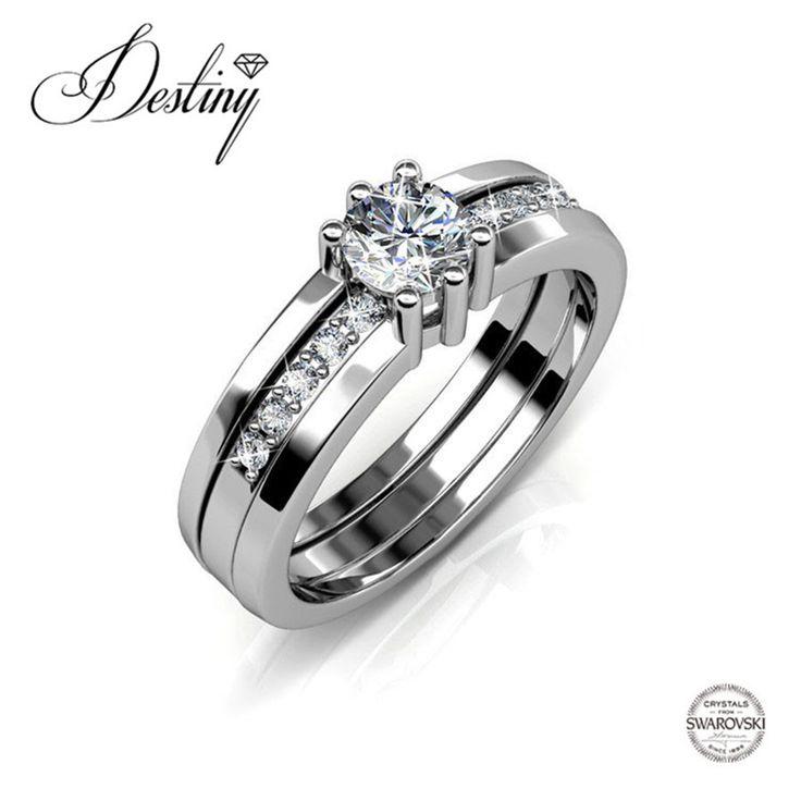 Goedkope Destiny Sieraden Verfraaid met kristallen van Swarovski Ring Dubbele Ring (3 Styled) DR0176, koop Kwaliteit ringen rechtstreeks van Leveranciers van China: naamdubbele Ring (3 Styled)materiaal van Ringhoge Kwaliteit Messing met 18 K wit vergulde (Extra coating plating 0.03mi