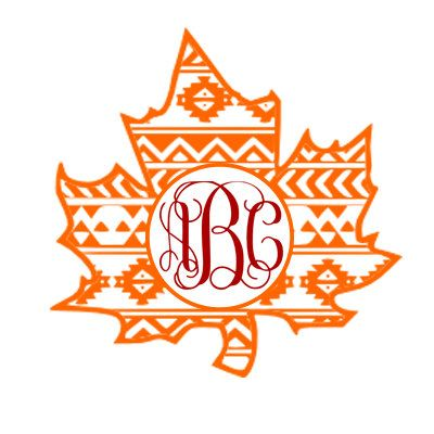 Aztec Leaf Vinyl Monogram Decal by BulletproofAndSassy on Etsy