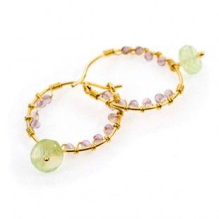 Pomegranate Amethyst and Prehnite Gold Vermeil Hoop Earrings