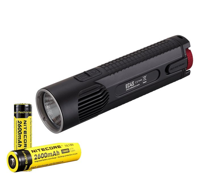 NiteCore EC4S CREE XHP50  2150 lm LED Flashlight with Battery, Black, Left/Right