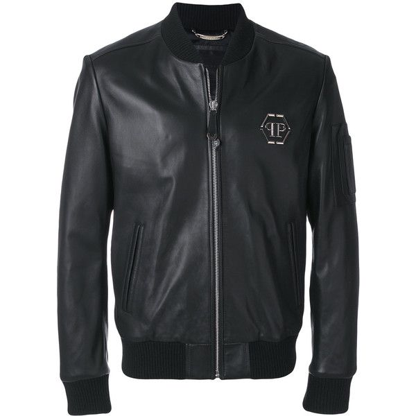 Philipp Plein leather bomber jacket ($4,515) ❤ liked on Polyvore featuring men's fashion, men's clothing, men's outerwear, men's jackets, black, mens leather bomber jacket, mens leather flight jacket, mens leather jackets and mens real leather jackets