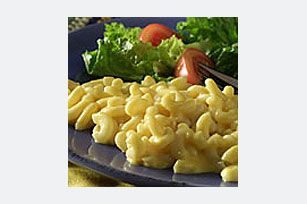 Velveeta Mac n Cheese Add crumbled package of ritz cracker over top drizzle with melted butter and bake...double recipe for 1lb box of pasta