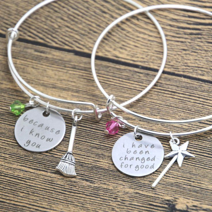 24pcs/lot best friend bracelet, wicked musical jewelry, changed for good, because I knew you, sister bangle set  wizard of Oz #Affiliate