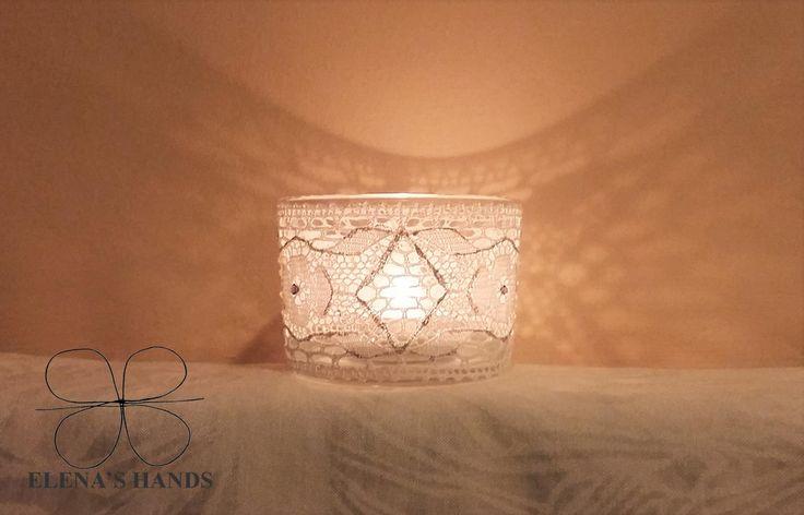 Porta candele decorato a mano #elenashands #handmade #portacandele