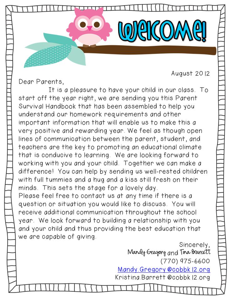 25 best ideas about Parent welcome letters – Welcome Letter