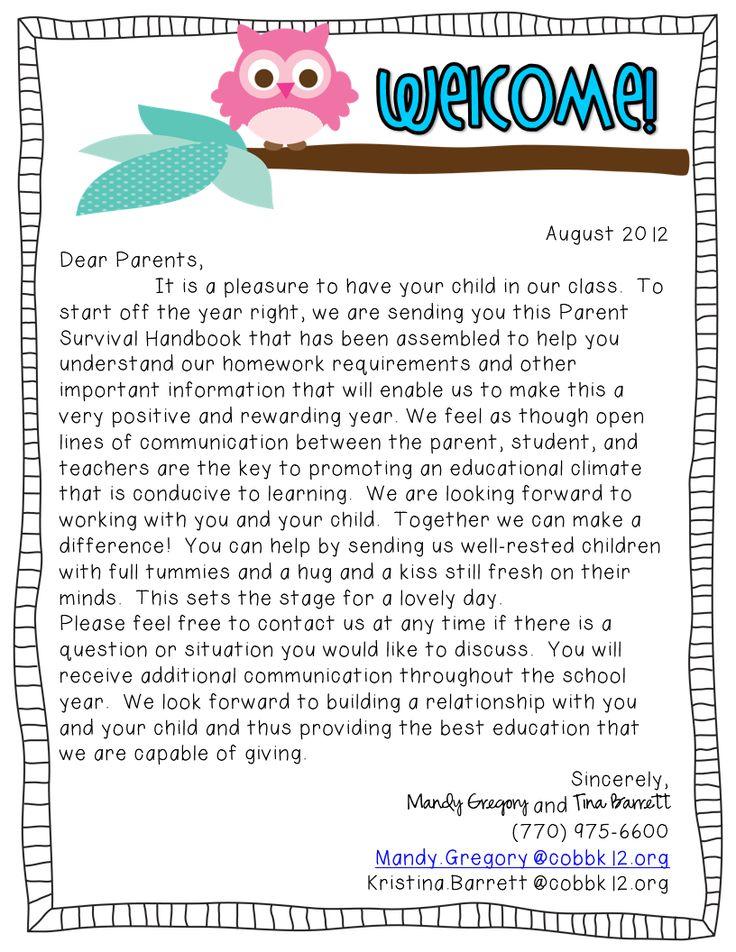 Welcome Letter to Parents Welcome Letter to Parents