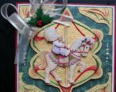 carte brodée, 3d morehead, enfant sur cheval de carrousel : Cartes par vitine