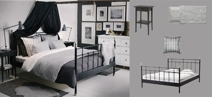 svelvik black bed with hemnes bedside tables and alina dark grey bedspread with cushion covers. Black Bedroom Furniture Sets. Home Design Ideas