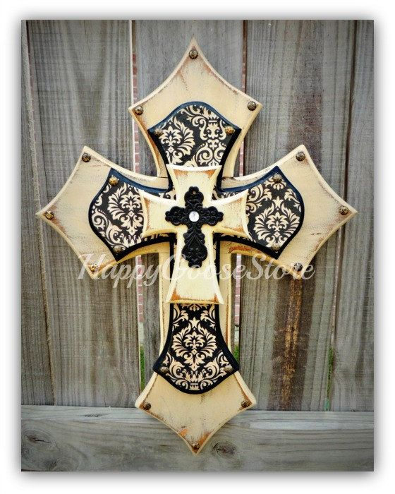 Beau MEDIUM Wooden Wall CROSS In Antiqued Cream With Aged Black/cream Damask,  Topped With A Black Decor Cross. * Measures X 17 * Protective