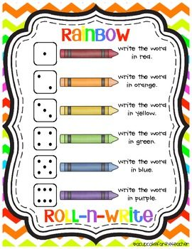 Great idea from A Cupcake for the Teacher. It's a word work activity that can be used to practice writing sight words or spelling words. It's called rainbow roll-n-write and it's a FREEBIE!