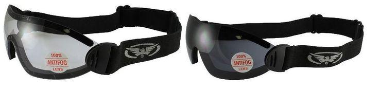 Sky Dive Goggles Clear Smoke Skydiving Shatterproof Global Vision Eye Wear 2 New #GV