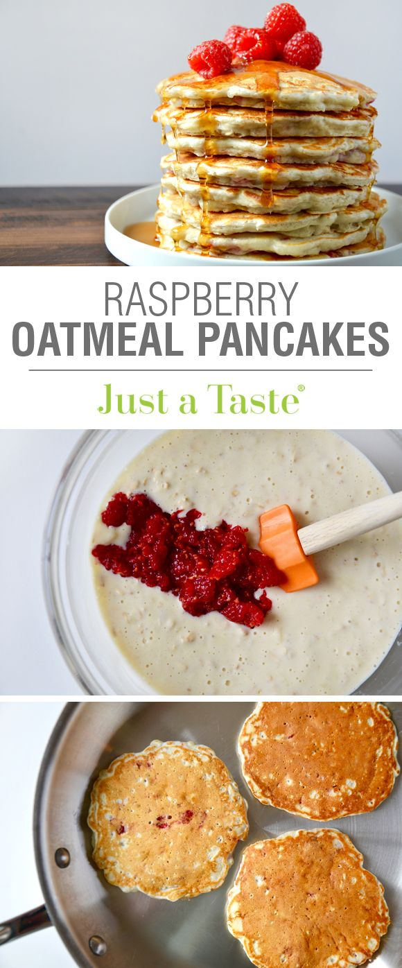 Raspberry Oatmeal Pancakes #recipe via justataste.com