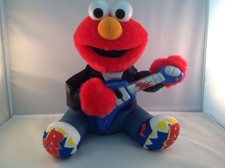 1998 Rock N Roll Musical Elmo Sings Plays Guitar Vibrates Sesame Street  #Tyco